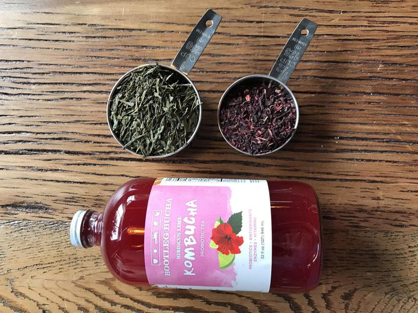 Green Tea & USDA Organic Hibiscus Flower used to make Bootleg Bucha's Hibiscus Lime Kombucha